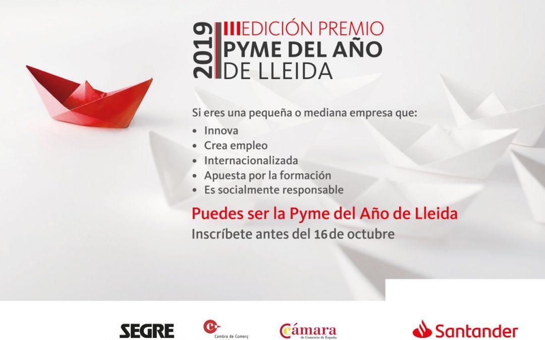 Banco Santander y la Cambra de Comerç de Lleida convocan el Premio Pyme del Año 2019