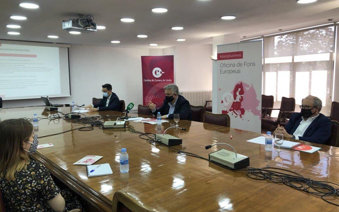 La Cambra de Lleida impulsa l'Oficina de Fons Europeus, un instrument pioner a l'abast de totes les empreses lleidatanes